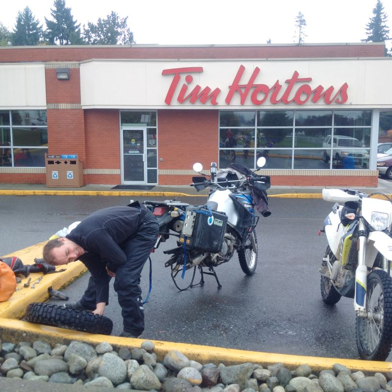 From that exploration, it was run back (N) to Port Alberni, to meet Chris and Joel. I didn't realize while I was killing time inside that my rear tire was going flat (from a bent finishing nail).