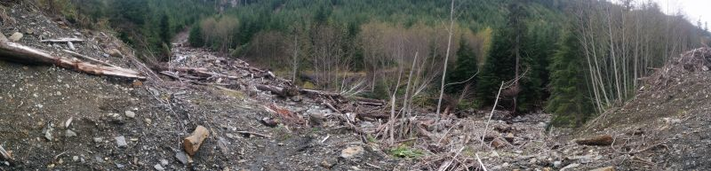 pano from end of drivable road. Bridge used to lead to road on far side in center of shot.
